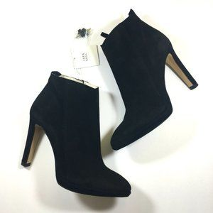 Zara Basic Black Faux Suede Ankle Boot Size 40